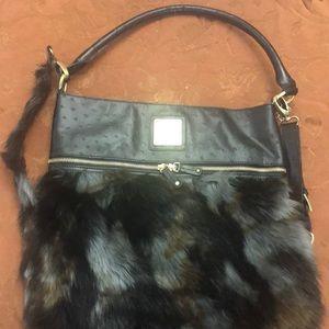 Dee Ocleppo leather fur bottom bag